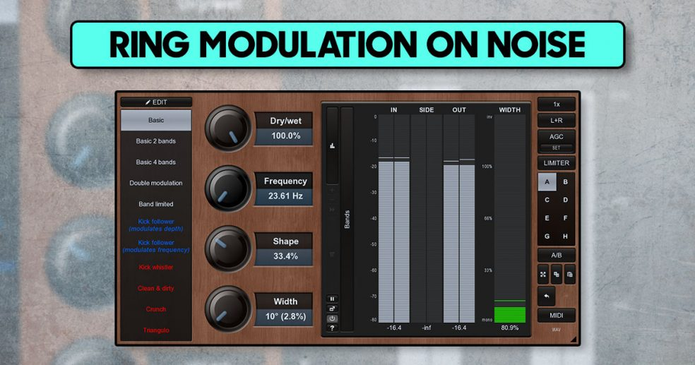 Ring modulation on white noise