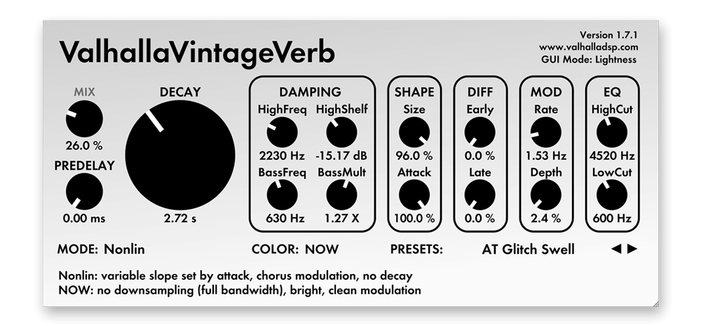 107 Valhalla VintageVerb Reverb Presets // Spaces by Audiotent